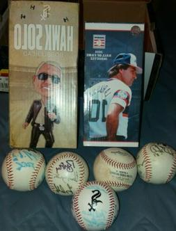 LOT OF MYSTERY WHITE SOX AUTOGRAPHED BALLS & BOBBLEHEADS/BOX